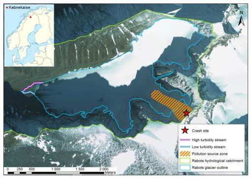 Figure 2. Rabots glaciär location and pollution source zone (from Clason et al., submitted)